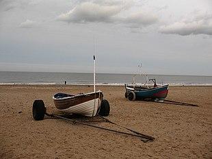 Fishing cobles on the sands at Marske