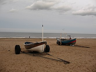 Marske-by-the-Sea - Image: Boats on the beach at Marske geograph.org.uk 669933