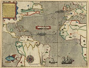Capture of Santiago (1585) - Drakes voyage to the West Indies showing the raid at Santiago