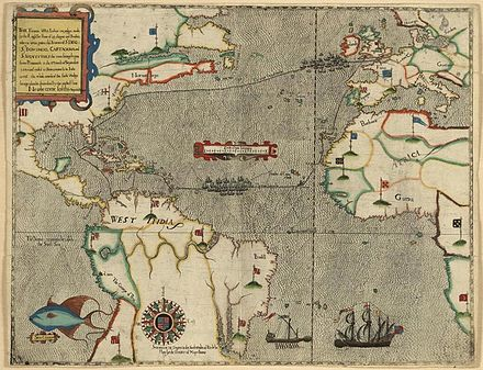 Map of Sir Francis Drake's 1585-6 voyage Boazio-Sir Francis Drakes West Indian Voyage.jpg