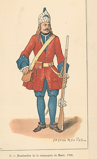 Troupes de la marine - Bombardier of the Brest company, 1705.