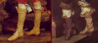 Boothose - Boots with boothose, early (left) and late (right) 1630s