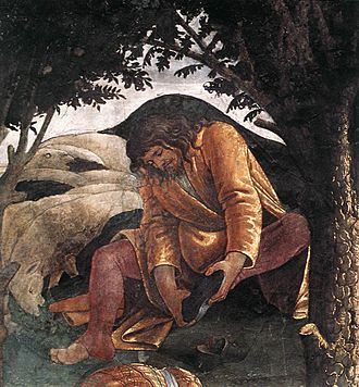 Youth of Moses - Detail of Moses removing his shoes