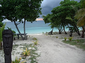 The beach on Bounty Island, Fiji