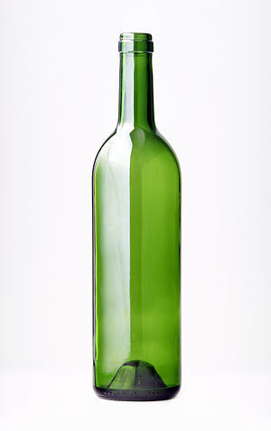 Wine bottle - An empty (Bordeaux-style) wine bottle with a punt at its base.