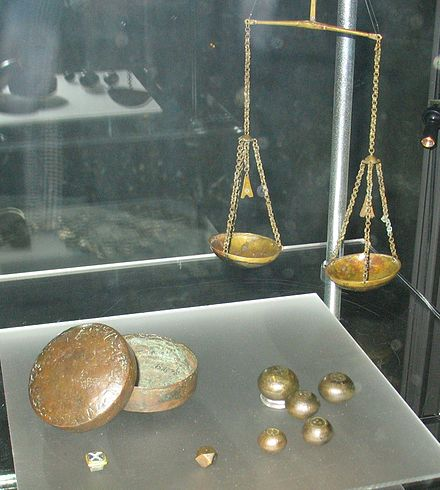 The scales and weights of a Viking trader, used for measuring silver and sometimes gold. (From the Sigtuna box) Box and scales.jpg