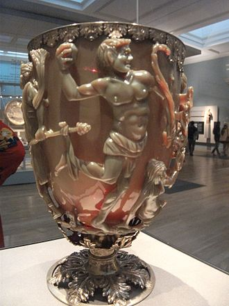 Lycurgus Cup - The satyr with the rock, in the new 2014 display