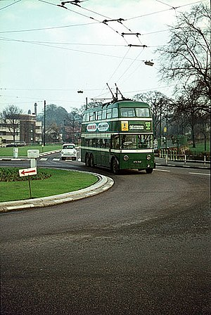 Nottingham City Transport - Trolleybus sweeps round the roundabout at the junction of Gregory Boulevard and Sherwood Rise in October 1965