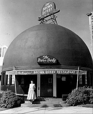 Brown Derby - Entrance to the restaurant in 1956.