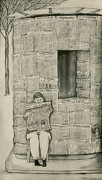 Bruno Caruso, News Stand, ink (1952)