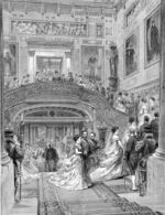 Disegno del 1870 che mostra gli ospiti che salgono dallo scalone principale.