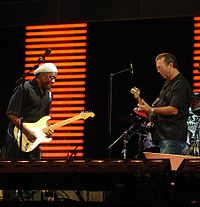 Buddy Guy and Eric Clapton performing at the Crossroads Guitar Festival in 2007