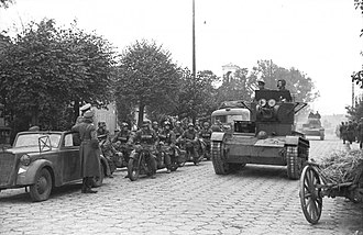 German–Soviet military parade in Brest-Litovsk - Rolling Soviet tanks and German motorcyclists