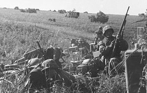 Operation Citadel - German motorised troops prepare to move out.