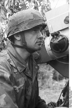 Reflector sight - German paratrooper looks through the reflector sight of the Flakvisier 40 gunsight on a FlaK 38 anti-aircraft gun (1944), one of the more sophisticated sights at the time