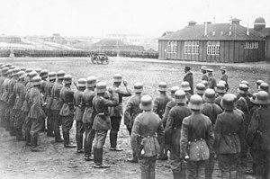 Bernhard von Hülsen - Reichswehrminister Gustav Noske visits the Freikorps Hülsen, January 1919