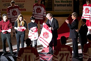 Brendan Burke - On February 5, 2011, the one-year anniversary of Burke's death, Brian Burke and his family are presented with special hockey sweaters in commemoration of Brendan Burke, which the RedHawks wore during their game that evening.