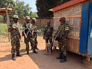 Military of Burundi - Burundi troops of the Central African Multinational Force in the Central African Republic.