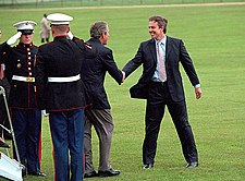 Tony Blair Welcomes U S President George W Bush To Chequers