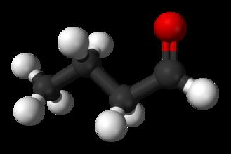 Butyraldehyde - Image: Butyraldehyde 3D balls