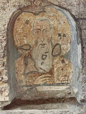 Cyrus and John - Fresco of Cyrus. Santa Maria Antiqua, Rome.