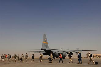 153d Airlift Wing - A Wyoming ANG C-130H at Balad, Iraq, 2008.