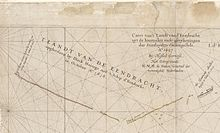 Caert van't Landt van d'Eendracht (detail showing Eendrachtsland named on the chart)