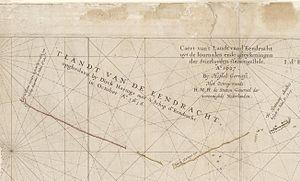 Eendrachtsland - Caert van't Landt van d'Eendracht (detail showing Eendrachtsland named on the chart)