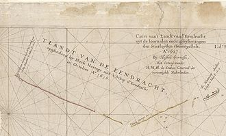 Eendracht (1615 ship) - Image: Caert van't Landt van d'Eendracht (detail showing Eendrachtsland)