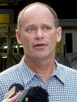 Campbell Newman being interviewed (cropped)