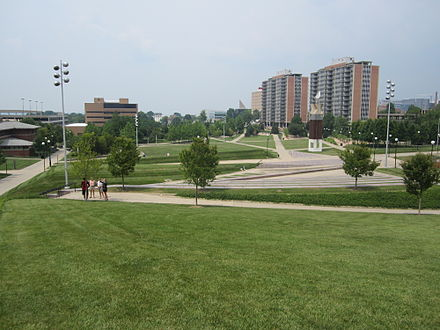 Campus Green, which is green and activity space for students at UC. To the left is the Lindner College of Business, and to the right are residence halls. Campus Green.jpg