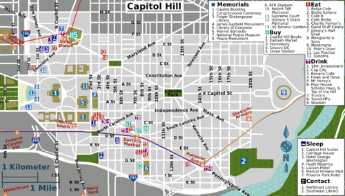 Washington DCCapitol Hill Travel guide at Wikivoyage – Washington Dc Tourist Map Pdf