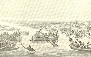 Leonard Helm - Helm's little flotilla returning to Vincennes after having captured the British boats on the Wabash.