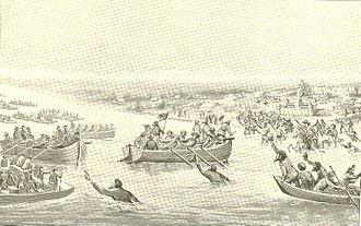 Leonard Helm - Helm's little flotilla returning to Vincennes after having captured the British boats on the Wabash.