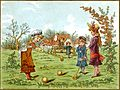 Card depicting children playing croquet (14359250184).jpg