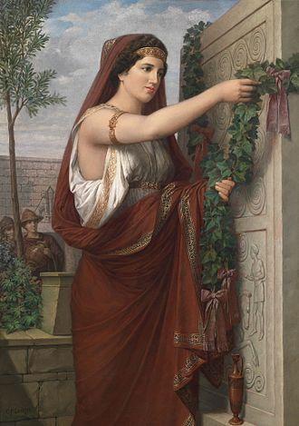 Vestalia - Vestal virgin hanging an ivy wreath.