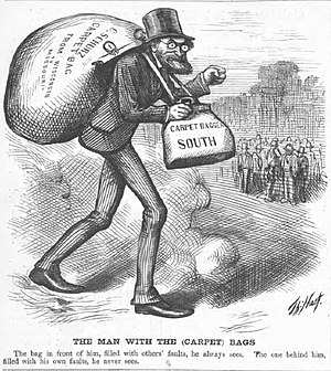 Carpetbagger - 1872 cartoon depiction of Carl Schurz as a carpetbagger