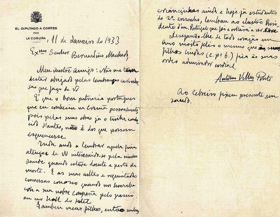 Carta de Villar Ponte a Bernardino Machado.