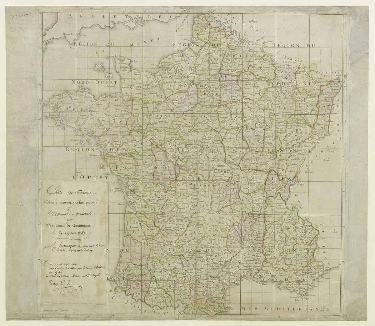 plan carte de france File:Carte de la France divisée suivant le plan proposé à l