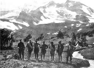 Claude Ewing Rusk - Cascadians Climbing Party on the east side of Adams after the ascent. Left to Right: Richardson, Starcher, Truitt, Williams, Whitmore, Coursen, Rusk