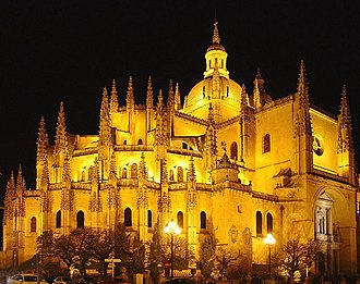 Segovia Cathedral - The Segovia Cathedral at night.