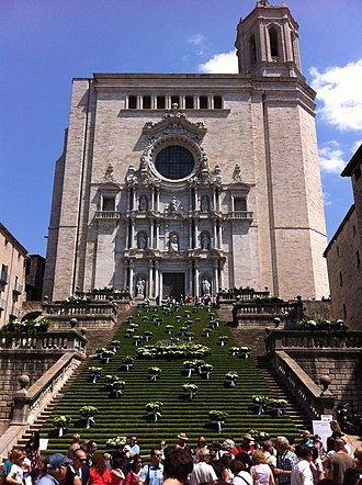 Girona - Girona cathedral during the annual flower exhibition.