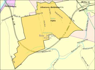 Alpha, New Jersey - Image: Census Bureau map of Alpha, New Jersey