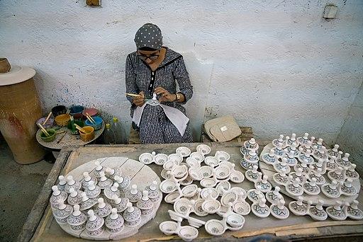 Ceramic craftswoman in Fez, Morocco