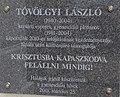 Chapel of Our Lady of Snow, László Tóvölgyi plaque in Gyenesdiás, 2016 Hungary.jpg