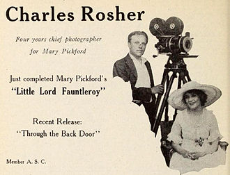 Charles Rosher - Rosher with Mary Pickford (1921)