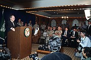 Secretary of Defense Cheney during a press conference regarding the Gulf War