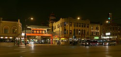 Cermak Road including the Chinatown Gate over Wentworth Avenue