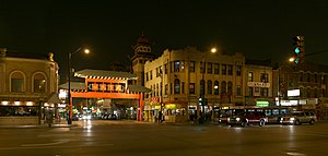 Chinatown, Chicago - Cermak Road including the Chinatown Gate over Wentworth Avenue