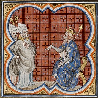 Gregory of Tours - St. Gregory and King Chilperic I, from the Grandes Chroniques de France de Charles V, 14th century illumination.